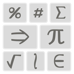 set of monochrome icons with mathematical symbols