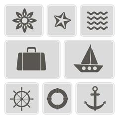 set of monochrome icons with marine recreation symbols