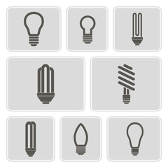 set of monochrome icons with lamps for your design