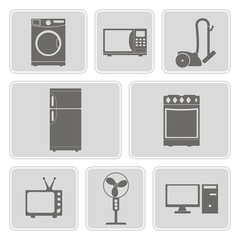 set of monochrome icons with home technics