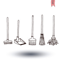 set of brooms, vector illustration