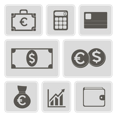 set of monochrome financial icons for your design