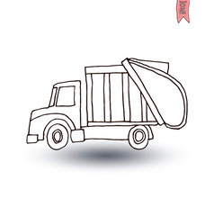 Recycle truck icon, vector illustration.