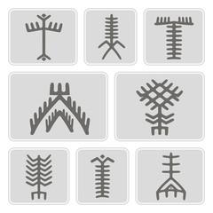 set of monochrome icons with Touareg tattoo symbols