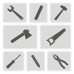 set of monochrome icons with building tools
