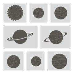 set of monochrome icons with planets of the solar system