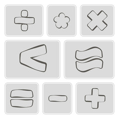 set of monochrome icons with arithmetic symbols
