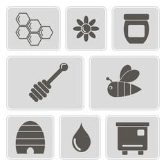 set of monochrome icons with on the theme of beekeeping