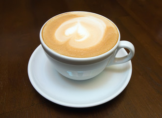 The cup of cappuccino