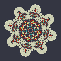 Colorful mandala over gray background.