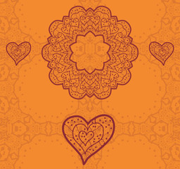 Valentine card design. Ornamental orange vector flyer.