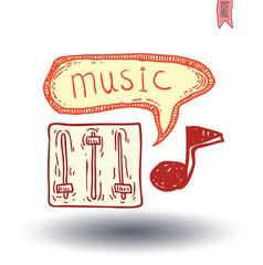 music icon hand drawn illustration.