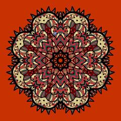 Ornamental colorful vector mandala on red.