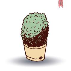 vase of cactus, Vector illustration.