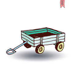 vintage wooden cart isolated, vector illustration.
