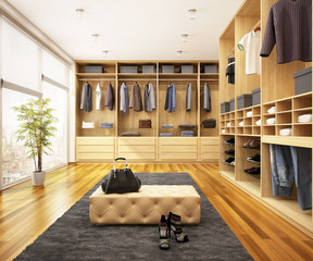 Modern wardrobe in a big house