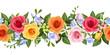 Obrazy na płótnie, fototapety, zdjęcia, fotoobrazy drukowane : Horizontal seamless background with colorful roses and freesia.