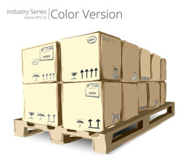 Vector illustration of Pallet with Boxes, Color Series.