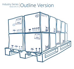Vector illustration of Pallet with Boxes, Outline Series.