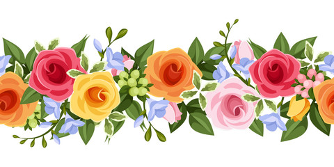 Horizontal seamless background with colorful roses and freesia.