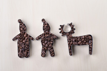 Coffee beans in cookie cutters