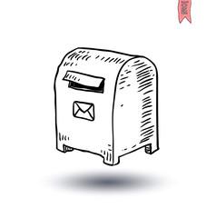 old retro tin mailbox, Hand-drawn vector illustration.