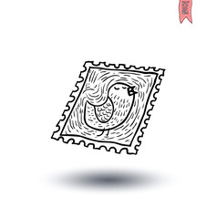 stamp Mail Icon, Hand-drawn vector illustration.