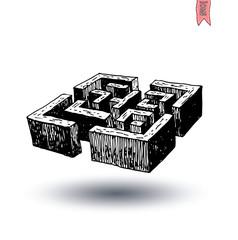 garden labyrinth, vector illustration.