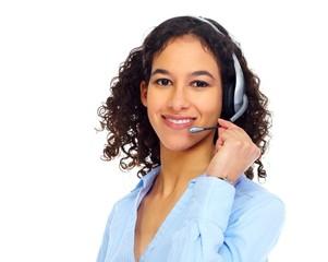 Operator woman in headphones