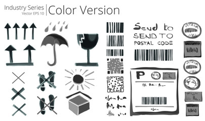 Vector illustration set of shipping sings , Color Series.