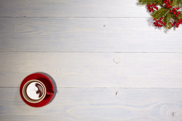 afternoon tea cup on white wood table background