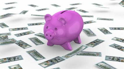 Money falling near the Piggy Bank