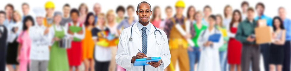 Doctor and group of workers people