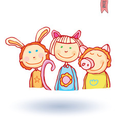Kid party, vector illustration.