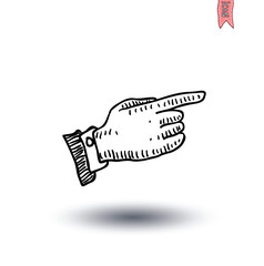 Pointing finger, Hand-drawn vector illustration