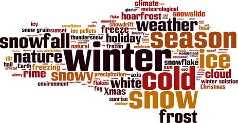 Winter word cloud concept. Vector illustration
