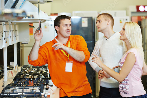 family shopping at home appliance supermarket - 75515789