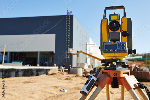 Surveyor equipment at construction site - 75515910