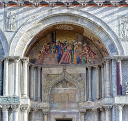 Detail of the facade of St. Mark's church in Venice