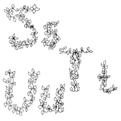 Alphabet in style of a sketch (the letters S, T, U)