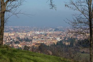 View of Bologna, Italy, in winter haze