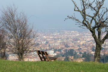 Bologna in winter, view from Pellegrino Park