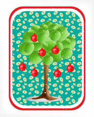 3d green tree with electical aplle bulbs