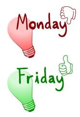 Dislike Monday and like Friday