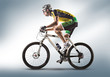 Cyclist riding a bicycle isolated against white background - 75518363