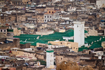 Aerial view of a mosque in Fes