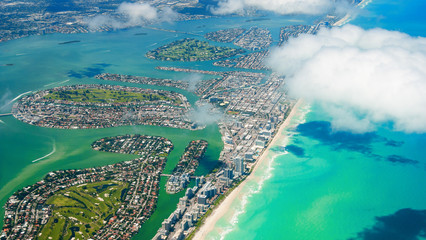 Amazing aerial view of Miami South Beach, Florida, USA