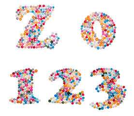 Numbers made of colorful sprinkles
