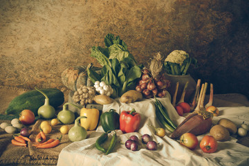 still life  Vegetables, Herbs and Fruits