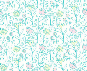 Seamless floral pattern spring mood.